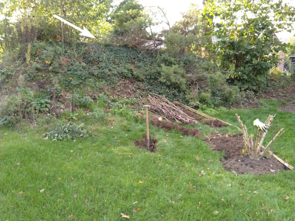 Start van het graven van de vijver.