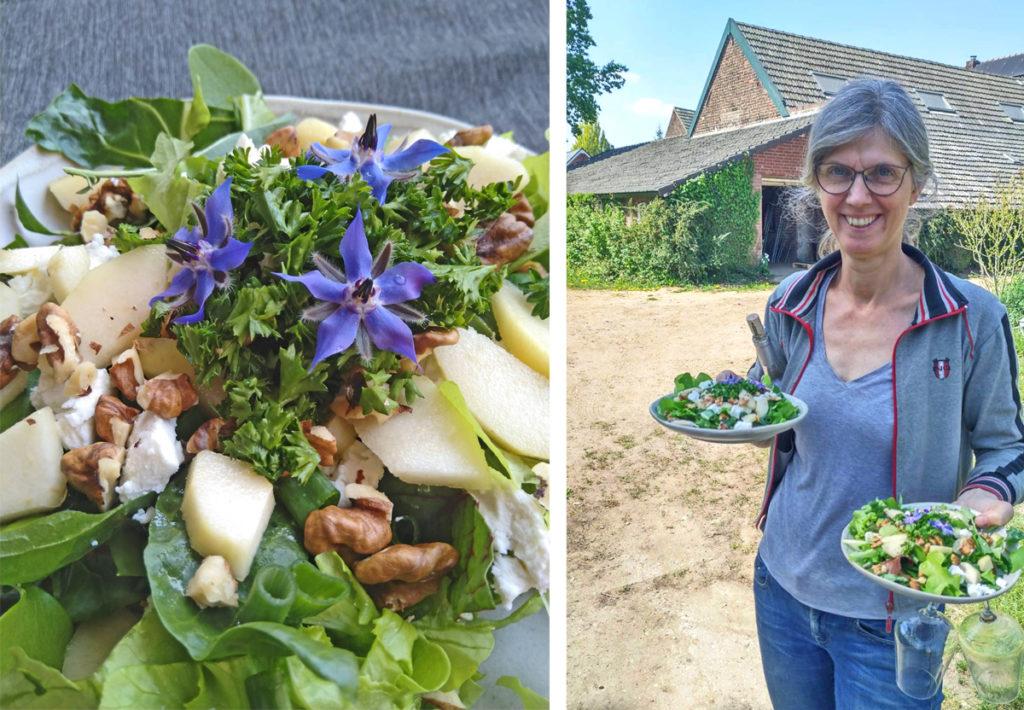 Helga serveert lentesalade uit eigen tuin.