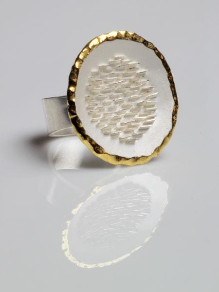 Zilveren aarde ring, witte uitvoering