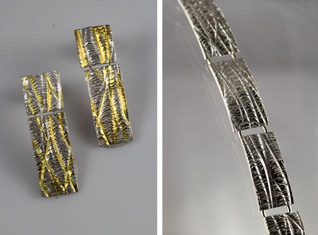 Zilveren oorbellen en een zilveren armband uit de Cambia collectie.