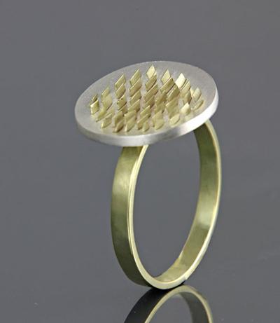Recycle goud in zilveren Aarde ring.