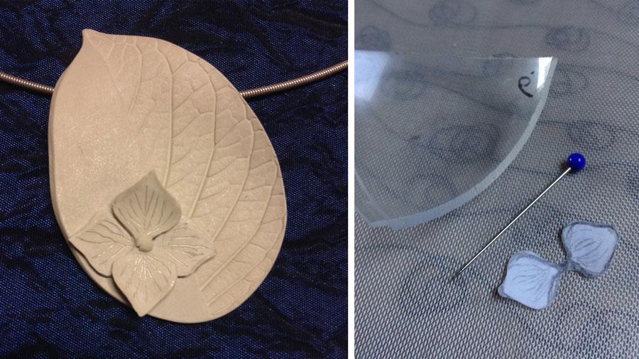 Enkele productie stappen van de zilveren Hortensia hanger.