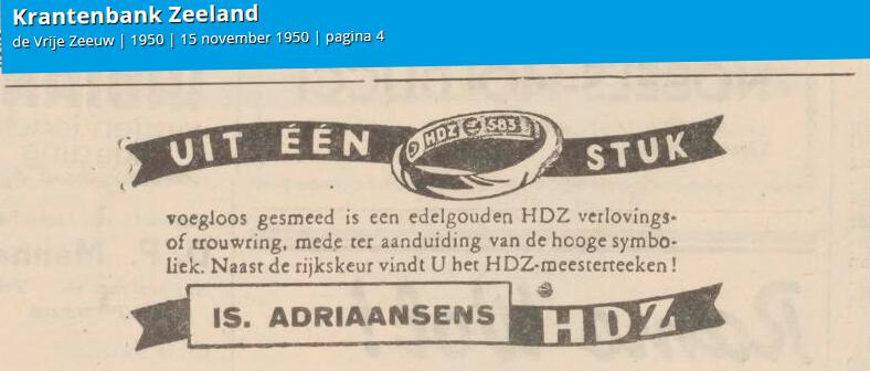 Trouwring advertentie uit 1950
